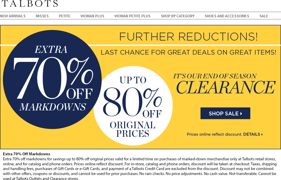 Talbots Coupon October 2019 Extra 70% off sale items at Talbots, ditto online