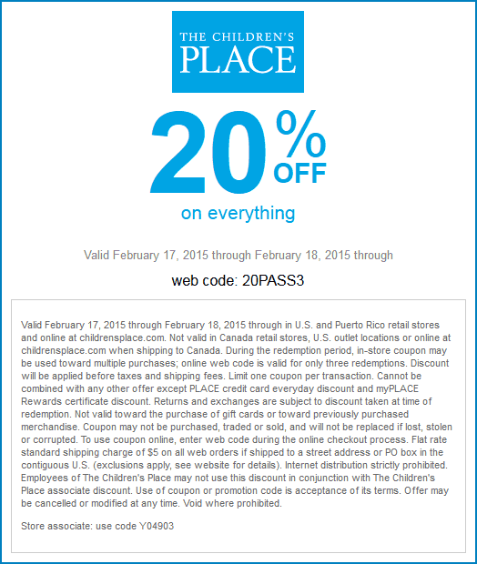 Childrens Place Coupon October 2016 20% off everything today at The Childrens Place, or online via promo code 20PASS3