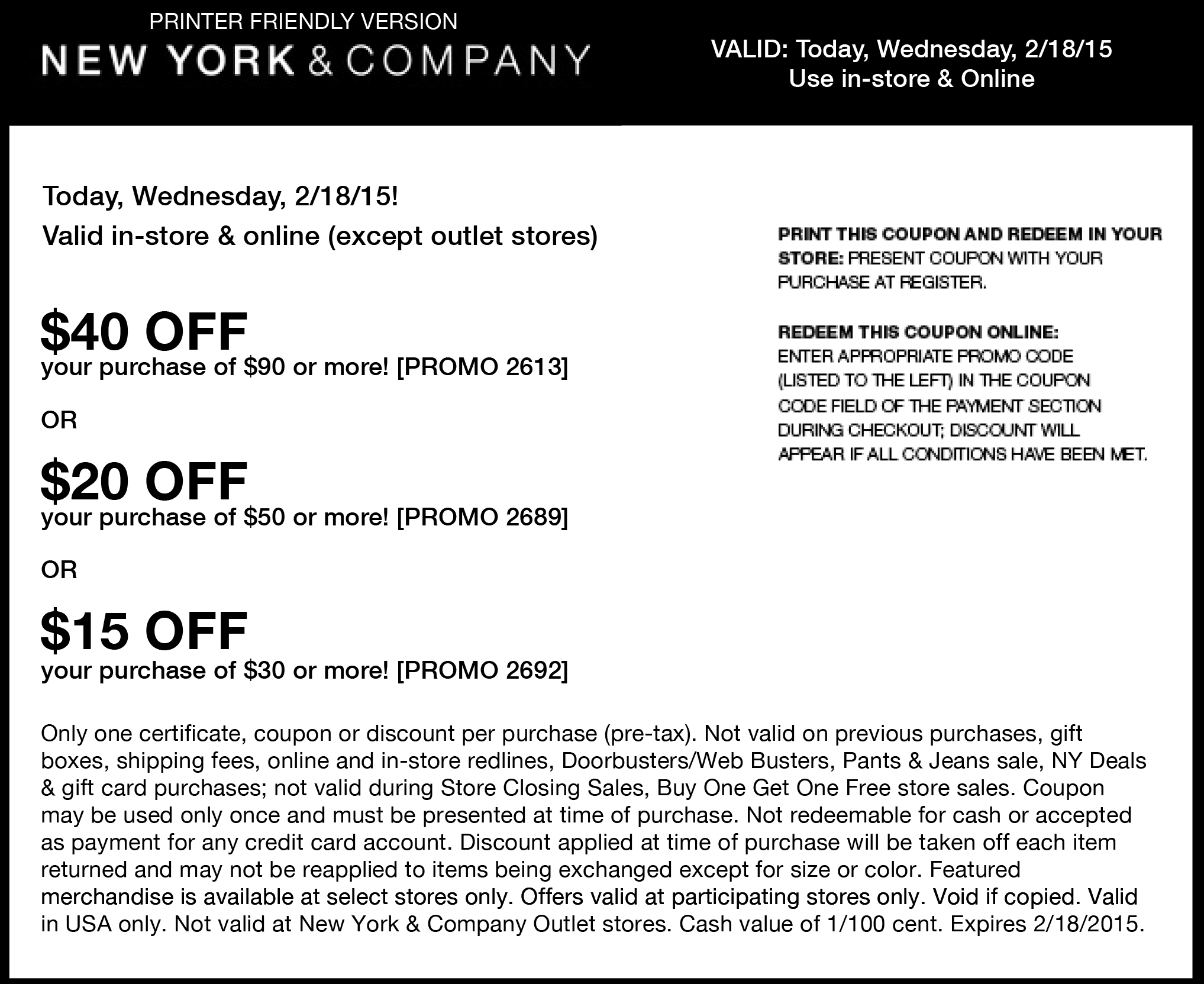 New York & Company Coupon January 2018 $15 off $30 & more today at New York & Company, or online via promo code 2692