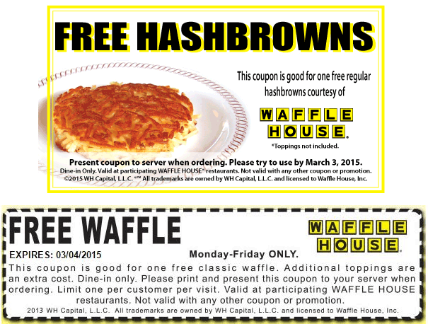 Waffle House Promo Codes for November, Save with 5 active Waffle House promo codes, coupons, and free shipping deals. 🔥 Today's Top Deal: (@Amazon) Up To 50% Off Waffle House. On average, shoppers save $42 using Waffle House coupons from dewittfbdeters.tk