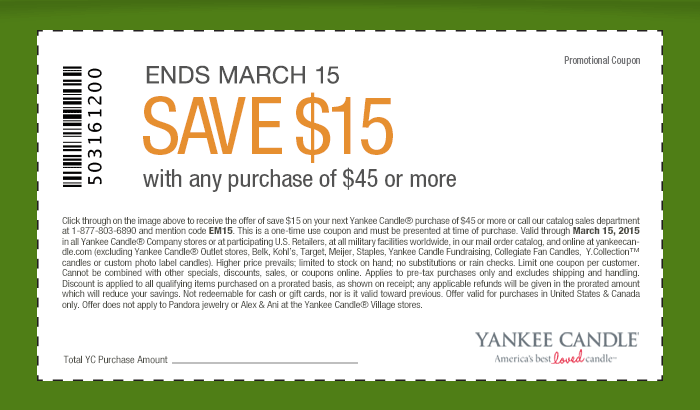 Yankee Candle Coupon October 2016 $15 off $45 at Yankee Candle, or online via promo code EM15