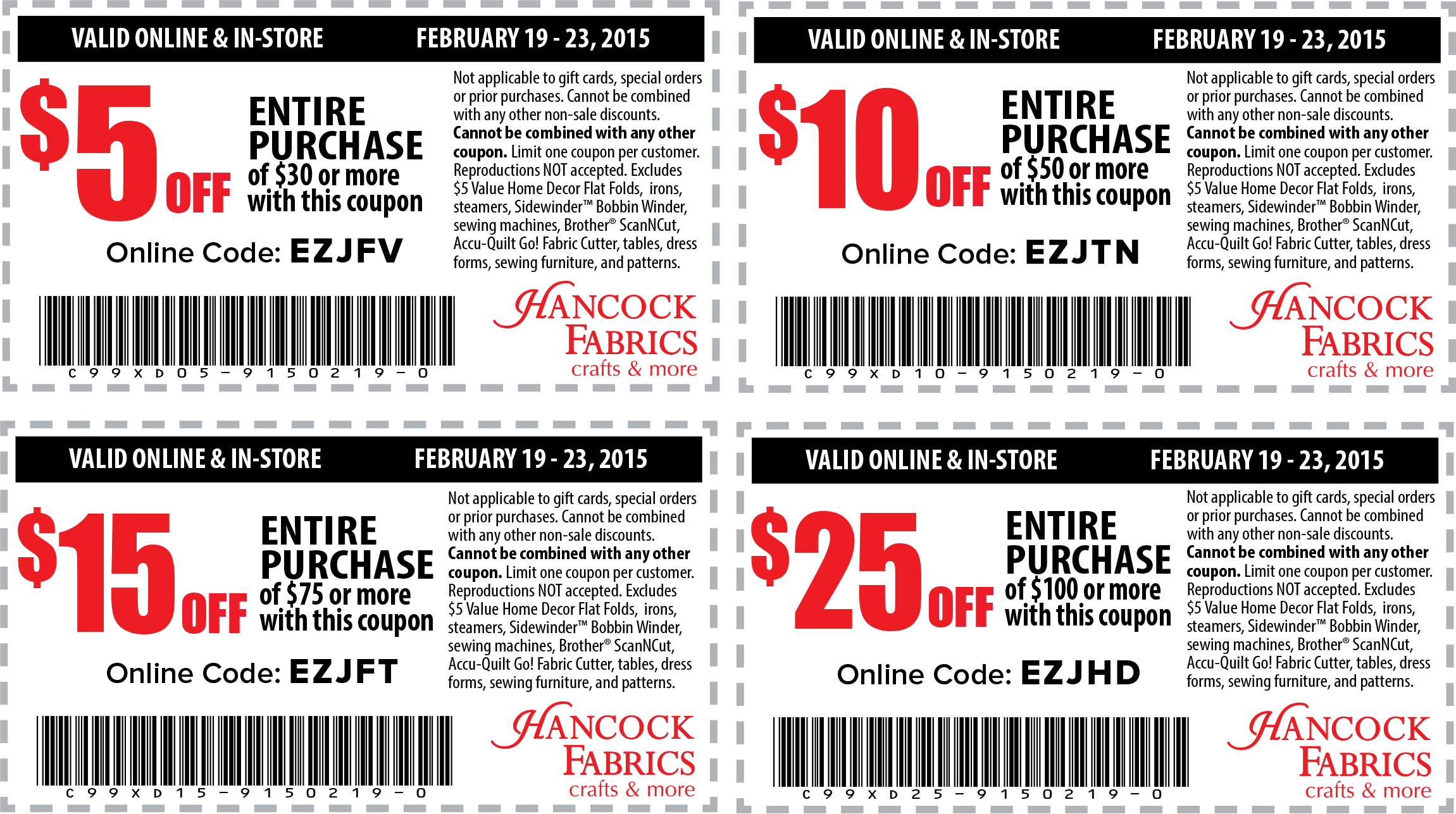Hancock Fabrics Coupon March 2017 $5 off $30 & more at Hancock Fabrics, or online via promo code EZJFV