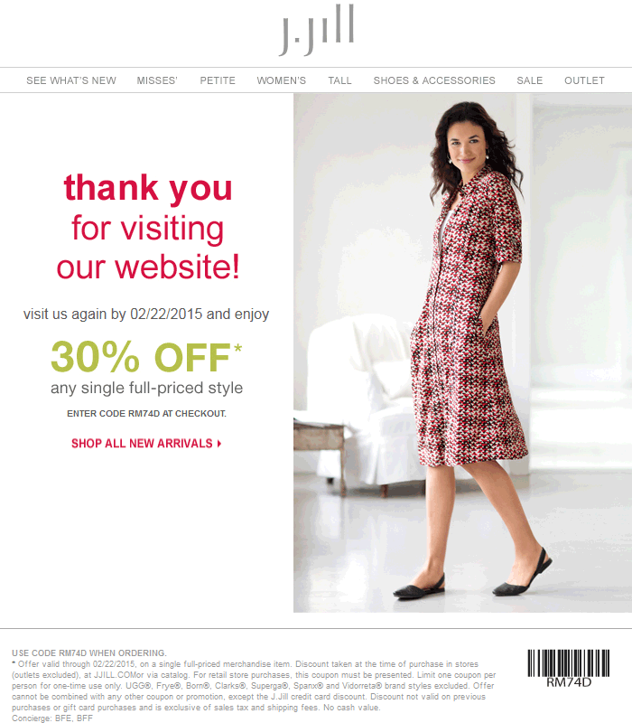 J.Jill Coupon November 2017 30% off a single item at J.Jill, or online via promo code RM74D