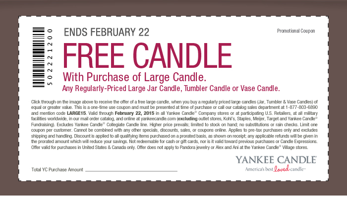 Yankee Candle Coupon March 2017 Second large candle free at Yankee Candle, or online via promo code LARGE15