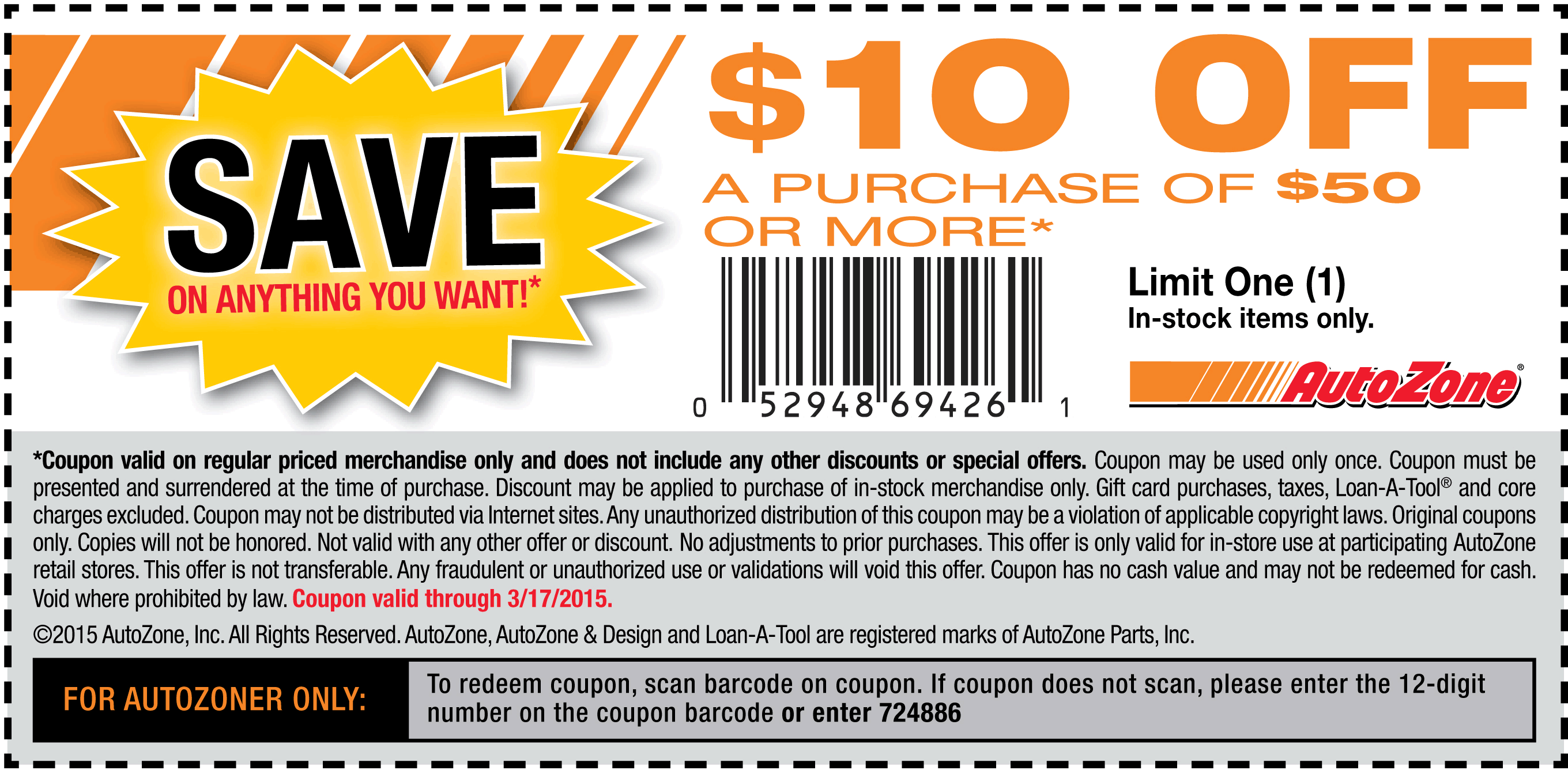 AutoZone Coupon November 2018 $10 off $50 at AutoZone