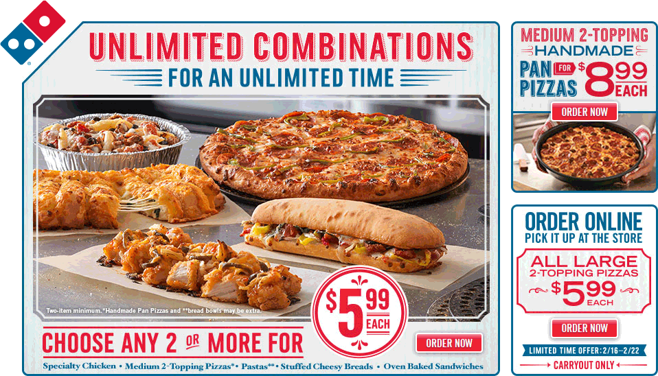 Dominos Coupon December 2016 Large 2-topping pizzas are $6 bucks at Dominos