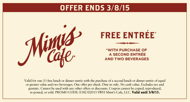 Mimis Cafe Coupon August 2017 Second entree free at Mimis Cafe