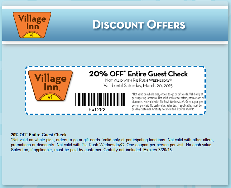 Village Inn Coupon January 2018 20% off at Village Inn restaurants