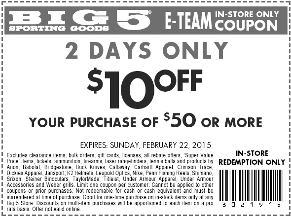 Big 5 Coupon March 2019 $10 off $50 at Big 5 sporting goods