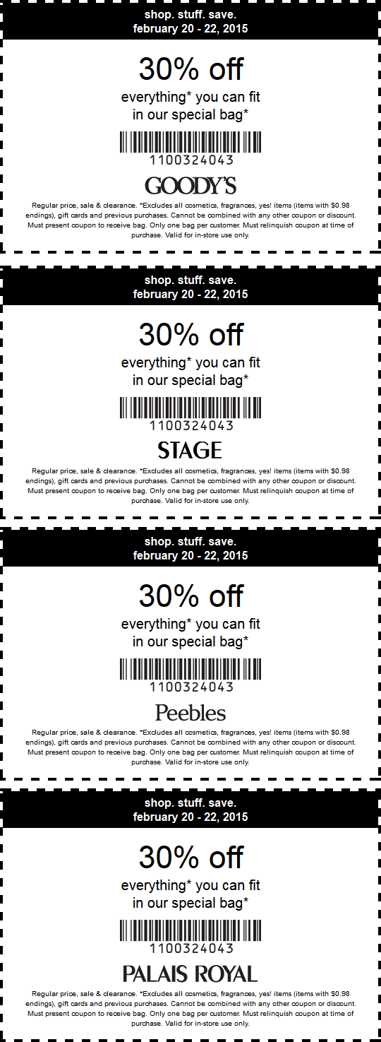 Stage Stores Coupon July 2017 30% what fits in the bag at Goodys, Stage, Peebles & Palais Royal