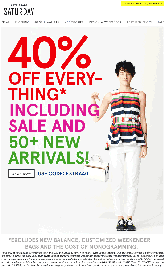 Kate Spade Saturday Coupon April 2018 40% off everything at Kate Spade Saturday stores, or online via promo code EXTRA40