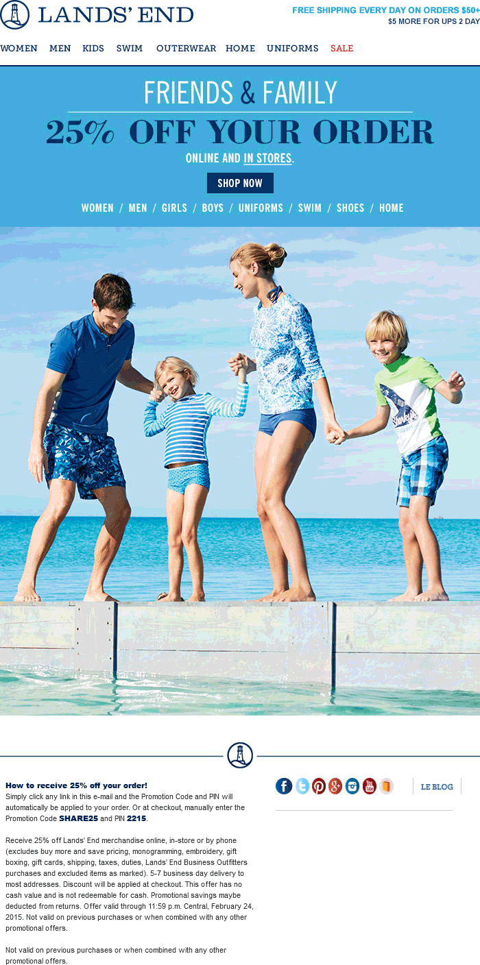 Lands End Coupon April 2018 25% off at Lands End, or online via promo code SHARE25 and pin 2215