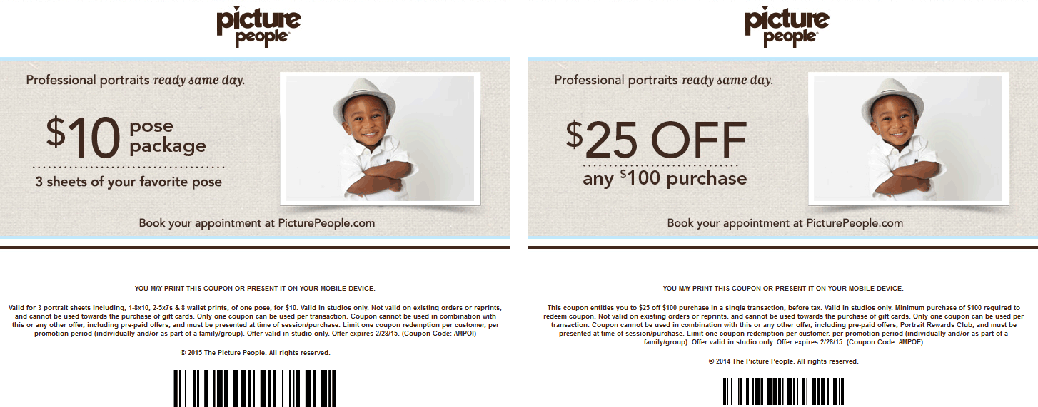 Picture People Coupon December 2018 3-sheet portrait pose package for $10 & more at Picture People