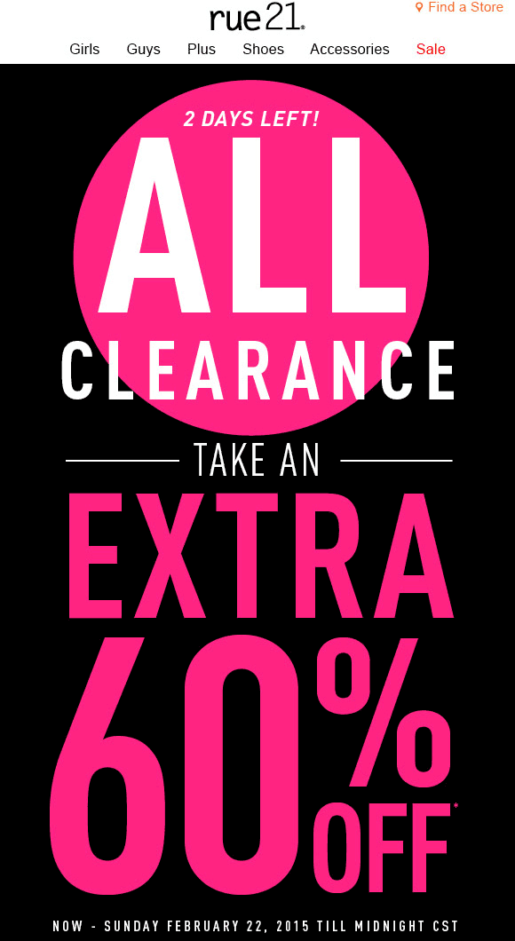 Rue21 Coupon May 2017 Extra 60% off clearance at rue21, ditto online