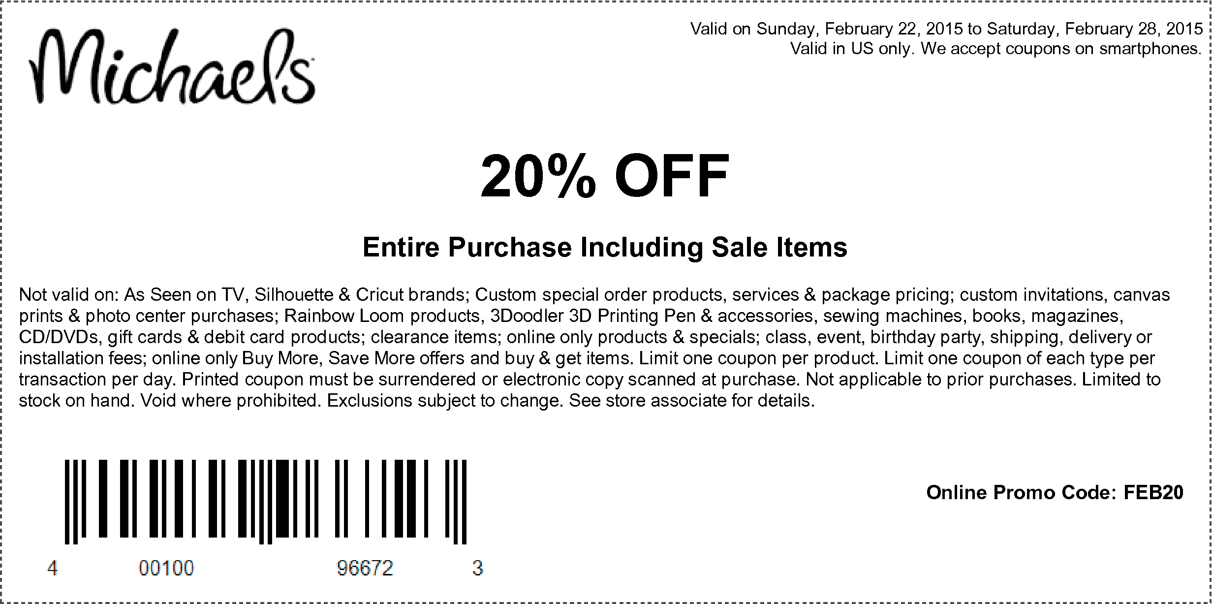 Michaels Coupon May 2017 20% off everything including sale at Michaels, or online via promo code FEB20