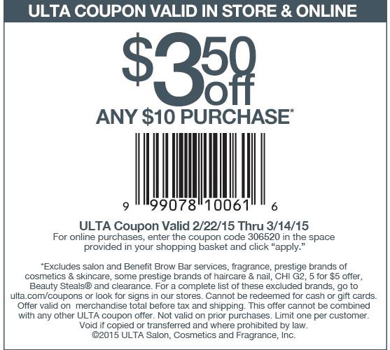 Ulta Coupon January 2017 $3 off $10 at Ulta, or online via promo code 306520