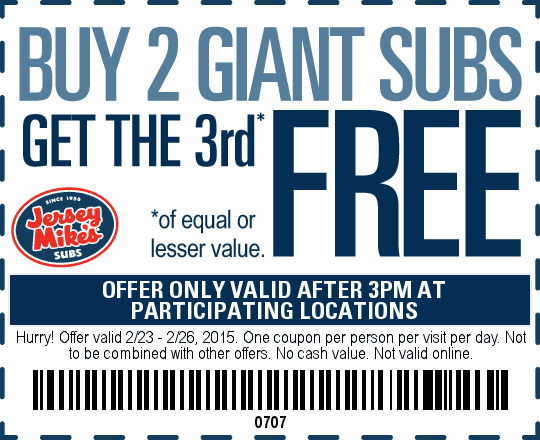 Jersey Mikes Coupon July 2018 3rd giant sub free after 3pm at Jersey Mikes