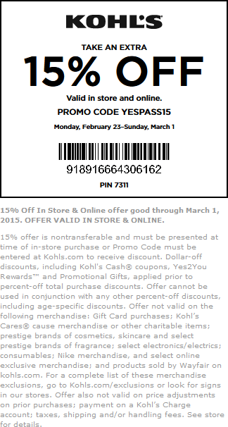 Kohls Coupon March 2017 15% off at Kohls, or online via promo code YESPASS15