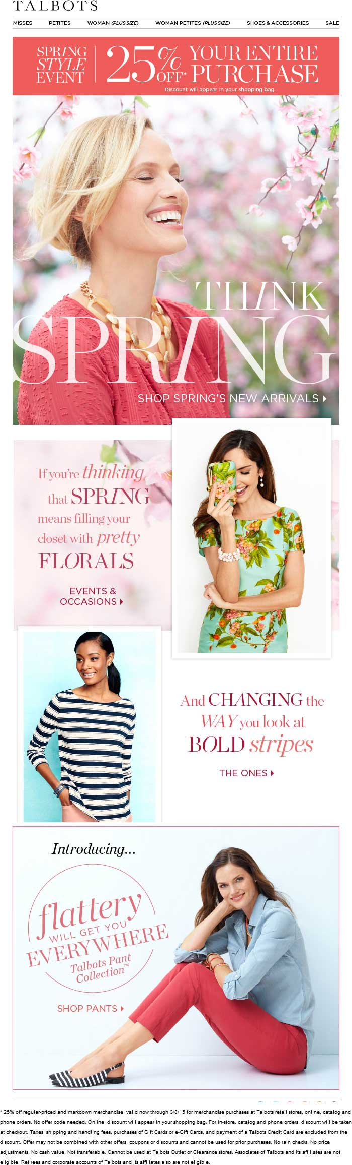 Talbots Coupon April 2017 Extra 25% off at Talbots, ditto online