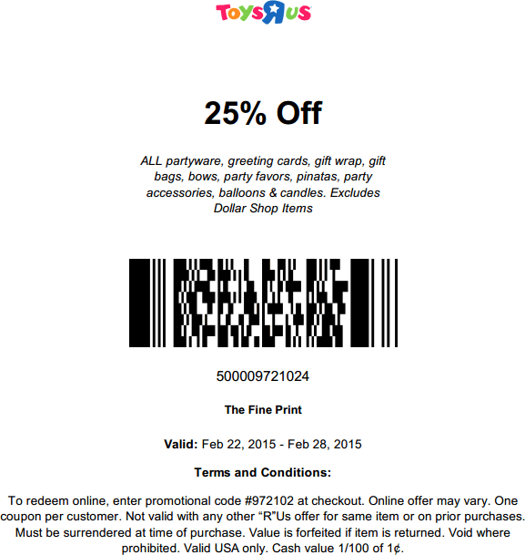 Toys R Us Coupon July 2017 25% off party supplies at Toys R Us, or online via promo code 972102