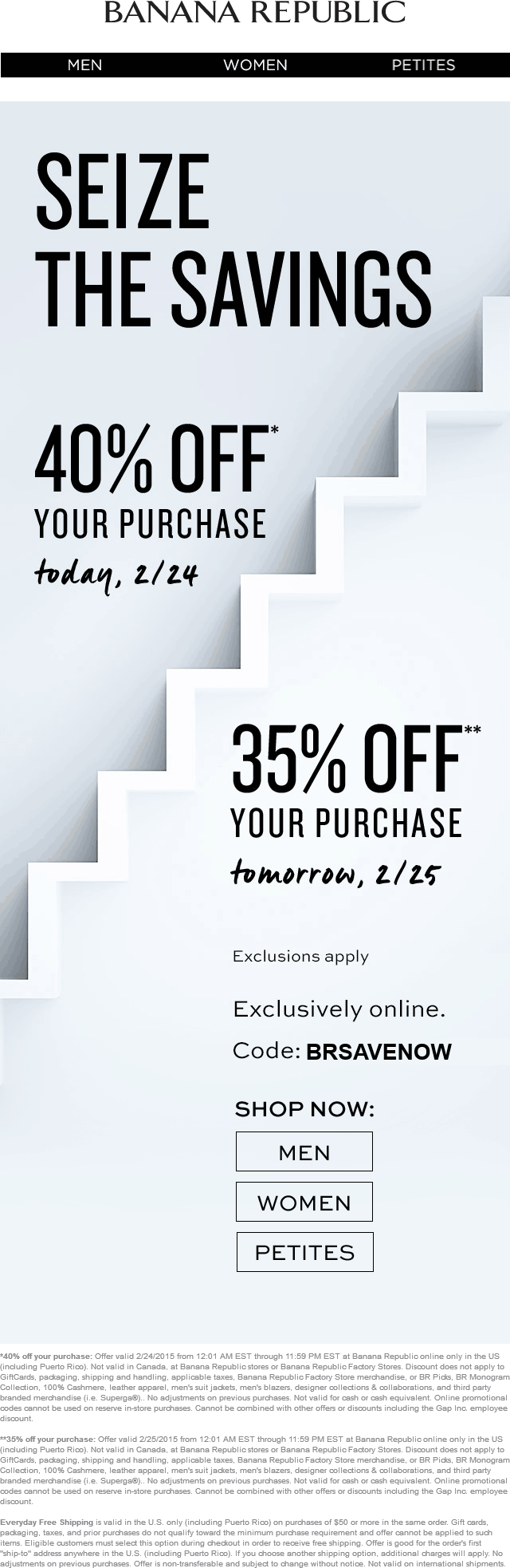 Banana Republic Coupon April 2018 35-40% off at Banana Republic, or online via promo code BRSAVENOW