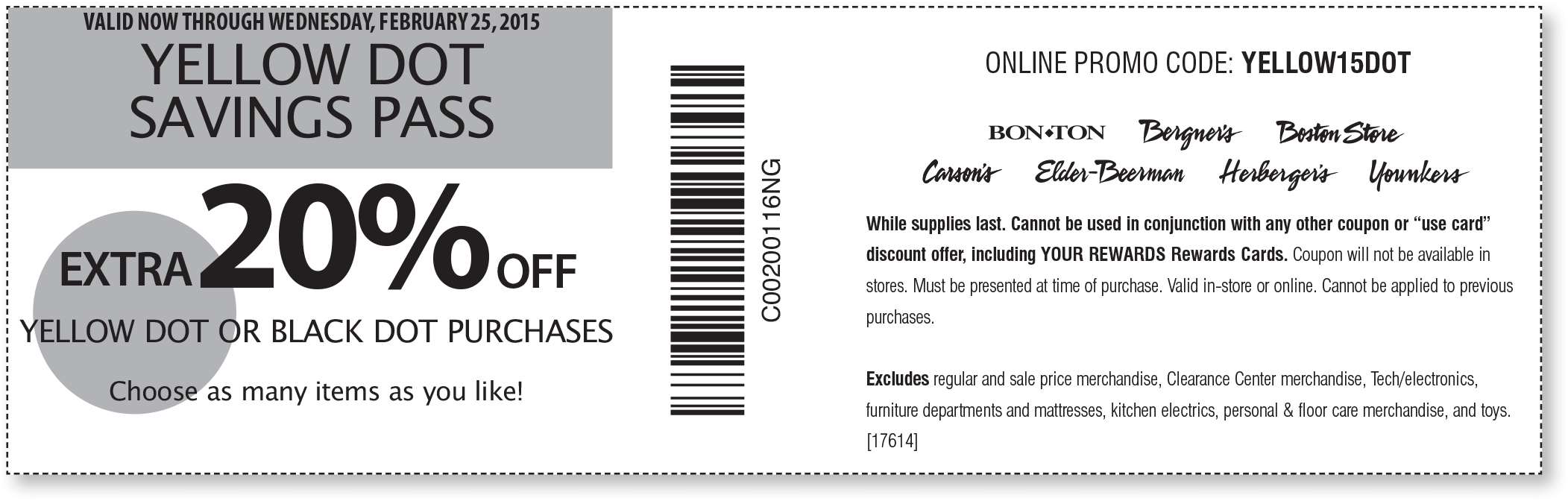 Carsons Coupon May 2017 Extra 20% off clearance at Carsons, Bon Ton & sister stores, or online via promo code YELLOW15DOT