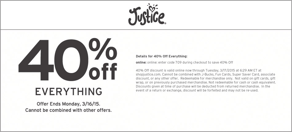 Justice Coupon May 2019 40% off everything at Justice & Brothers, or online via promo code 709
