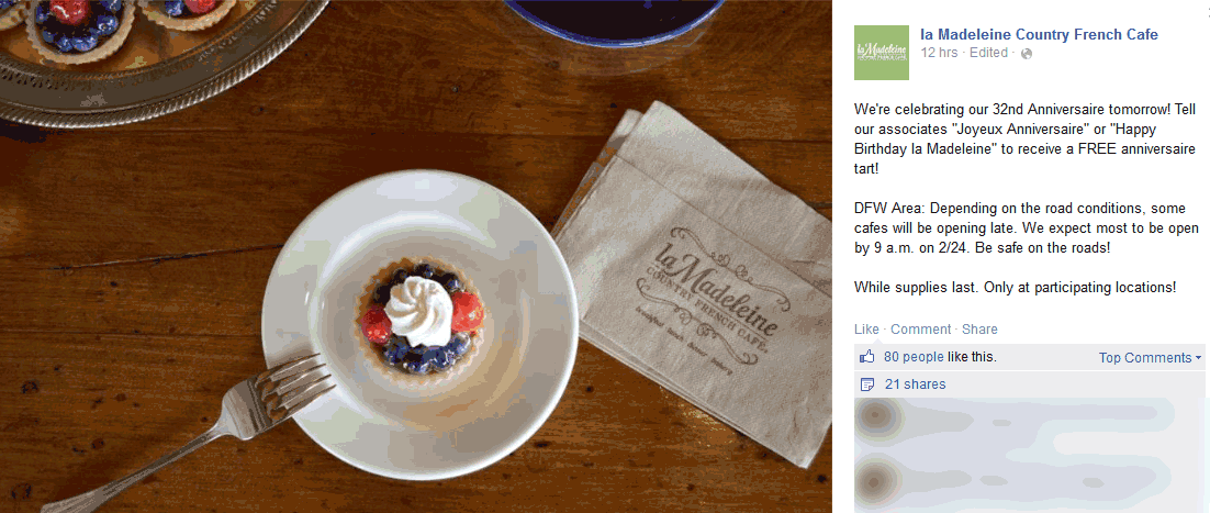 la Madeleine Country French cafe Coupon July 2018 Free tart today at la Madeleine Country French cafe