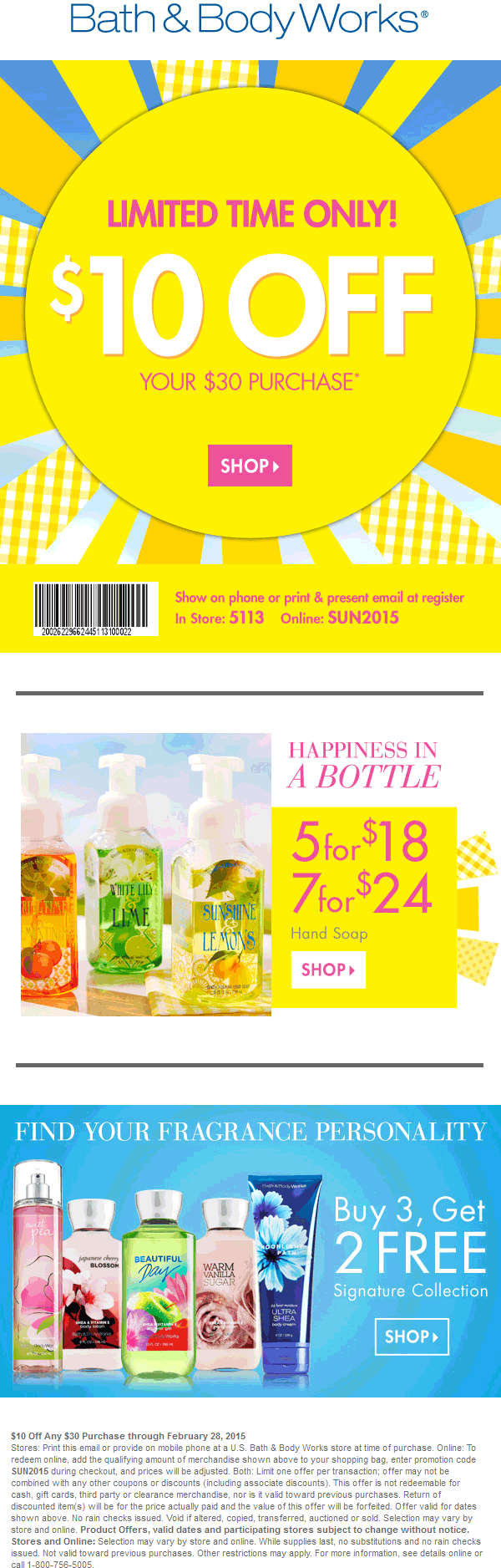 Bath & Body Works Coupon May 2019 $10 off $30 at Bath & Body Works, or online via promo code SUN2015