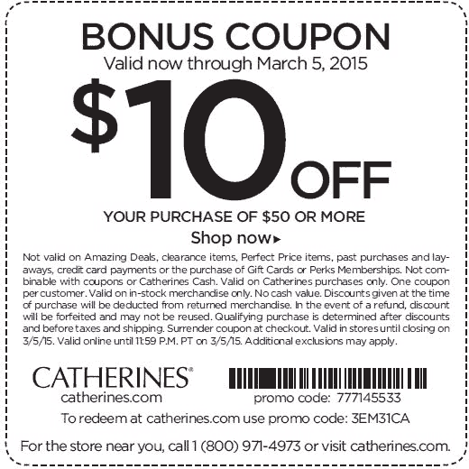 Catherines Coupon May 2018 $10 off $50 at Catherines, or online via promo code 3EM31CA