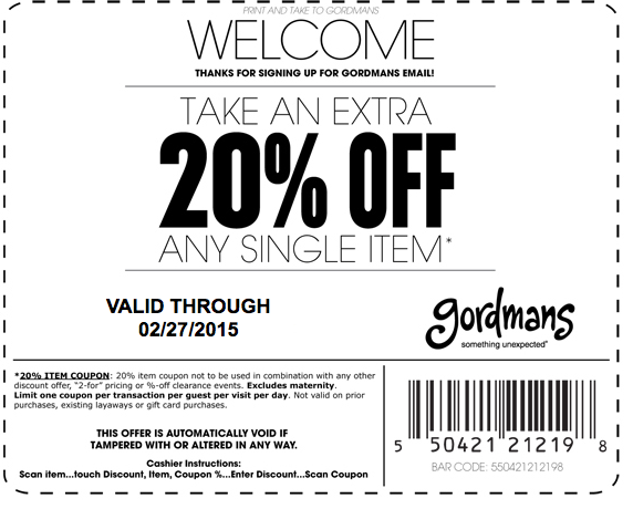 Gordmans Coupon September 2018 20% off a single item at Gordmans