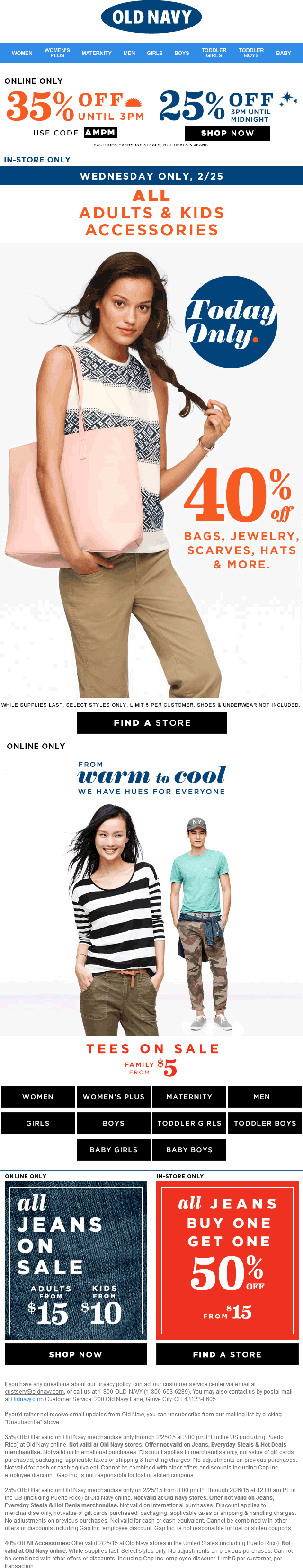 Old Navy Coupon February 2018 40% off accessories today at Old Navy, or 35% off online via promo code AMPM