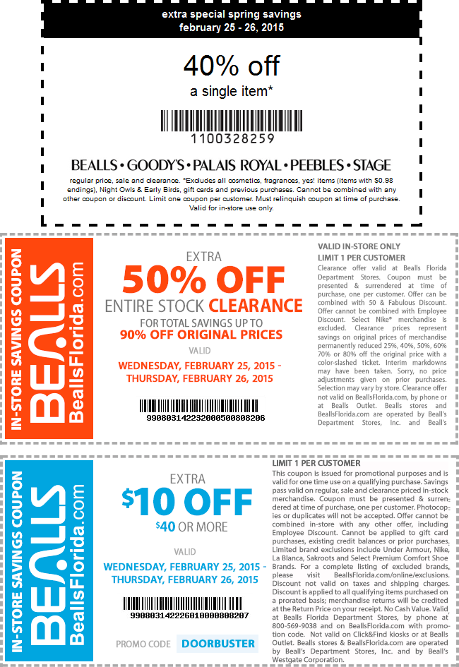 Bealls Coupon February 2018 40% off a single item & more today at Bealls, Goodys, Palais Royal, Peebles & Stage stores