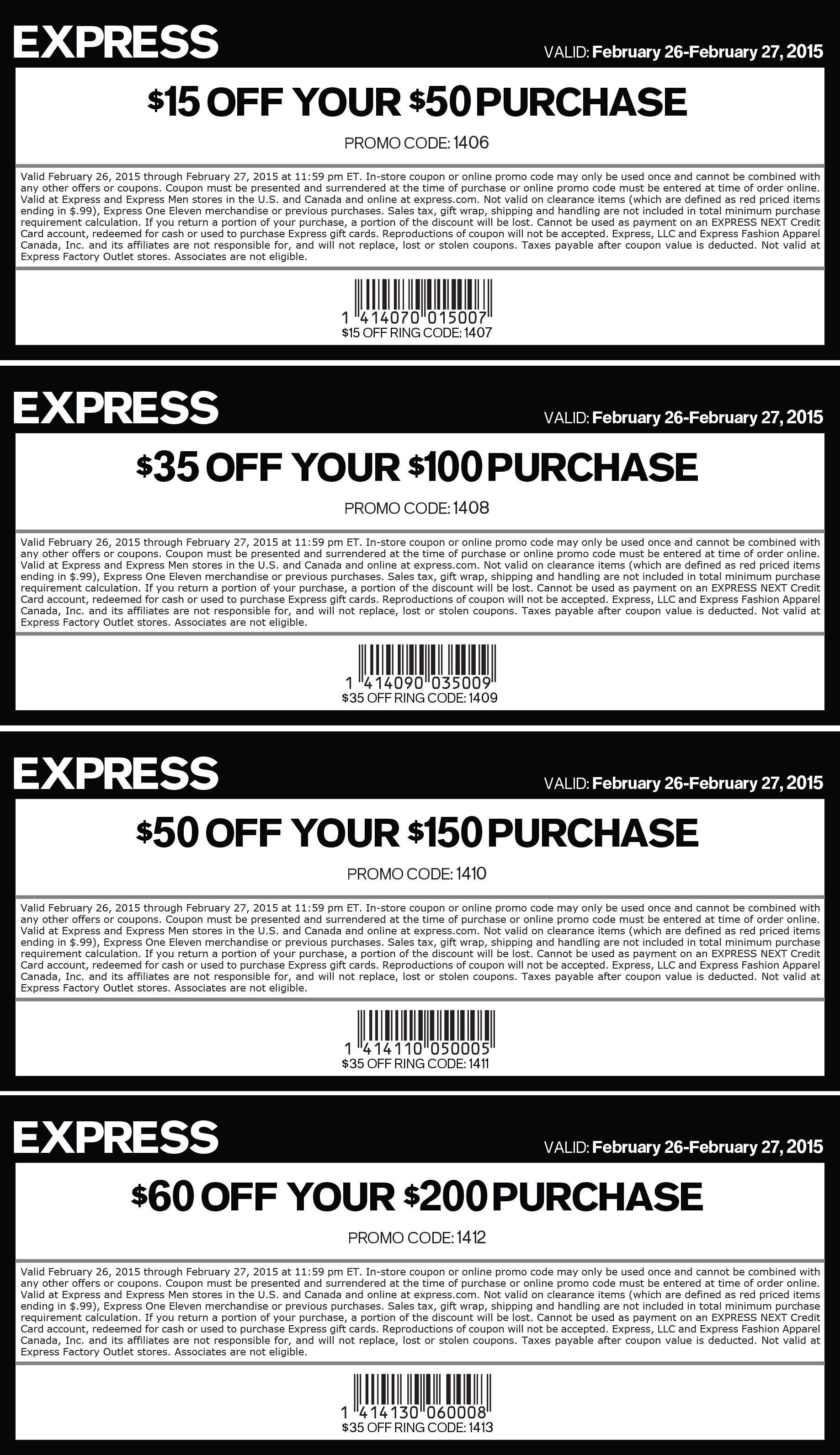 Express Coupon November 2018 $15 off $50 & more at Express, or online via promo code 1406