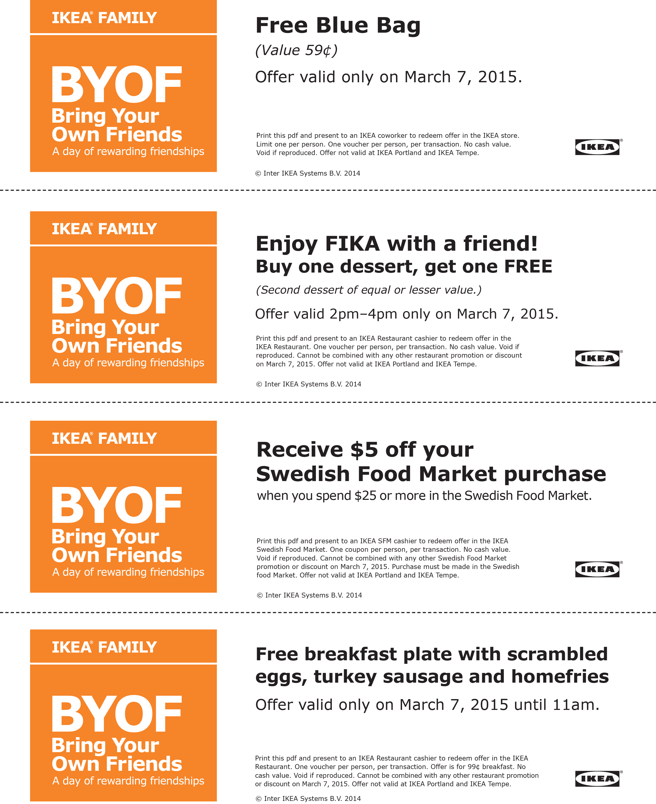 IKEA Coupon March 2017 Free breakfast & more the 7th at IKEA furniture