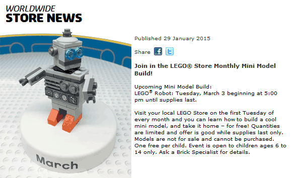 LEGO Store Coupon January 2018 Free lego robot build Tuesday at LEGO Stores