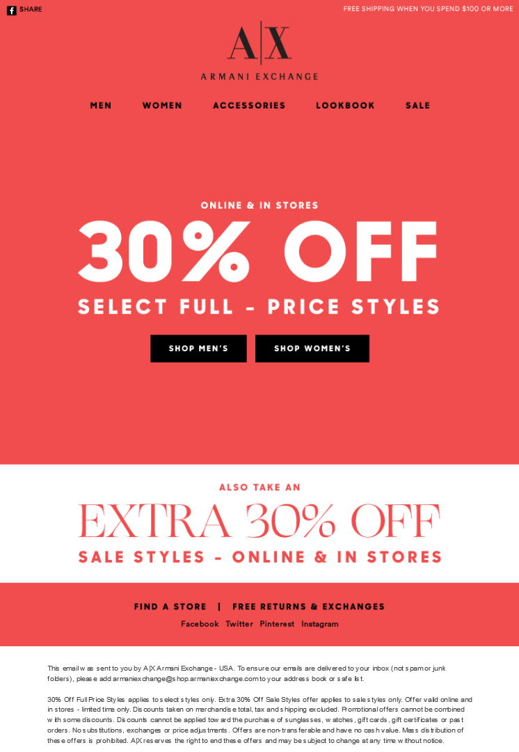 Armani Exchange Coupon November 2019 Extra 30% off at Armani Exchange, ditto online
