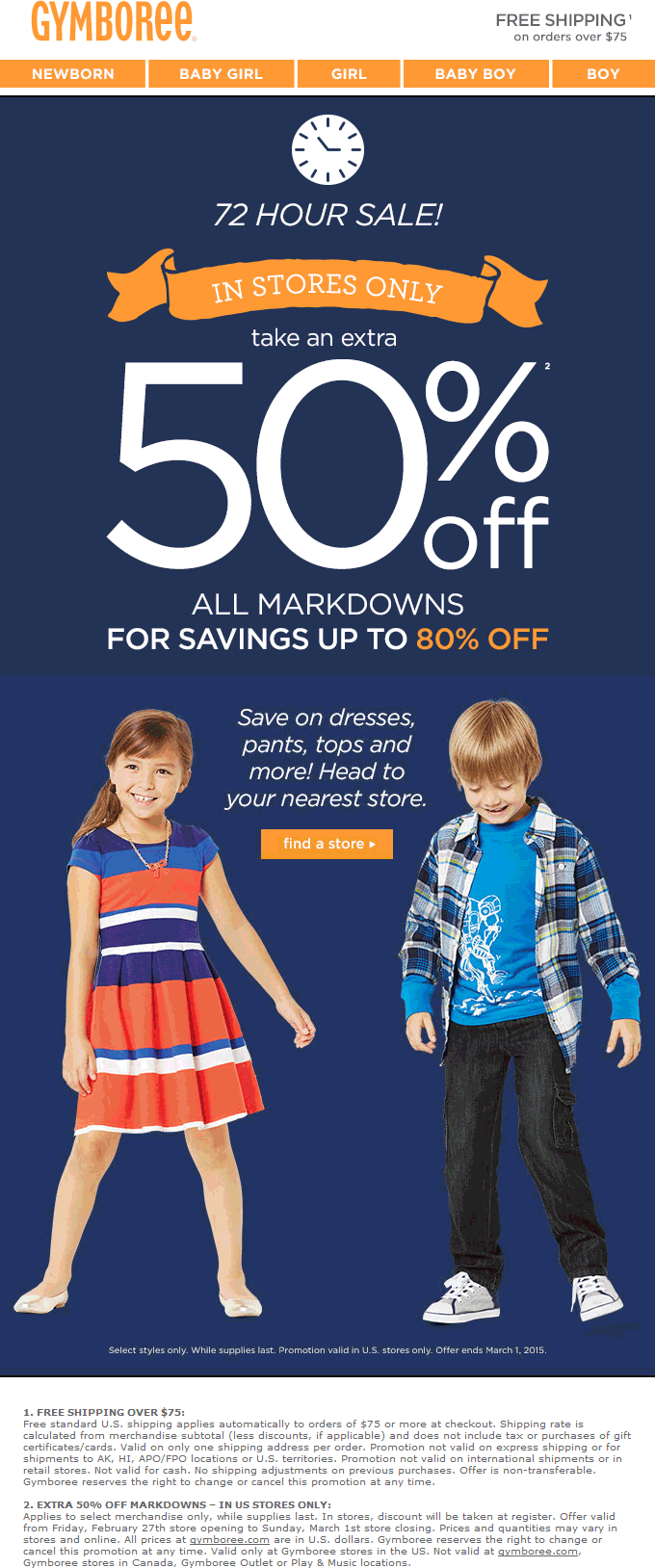 Gymboree Coupon July 2018 Extra 50% off sale items at Gymboree