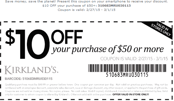 Kirklands Coupon January 2017 $10 off $50 at Kirklands
