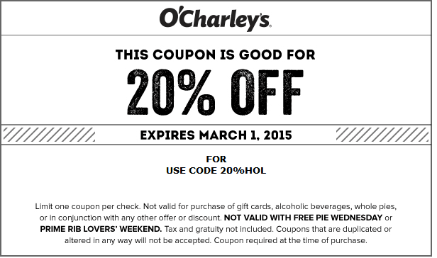 OCharleys Coupon February 2017 20% off at OCharleys restaurants