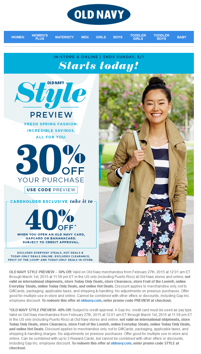 Old Navy Coupon January 2017 30% off at Old Navy, or online via promo code PREVIEW