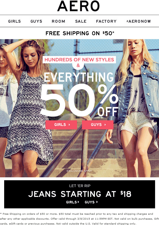 Aeropostale Coupon March 2018 Everything is 50% off at Aeropostale, ditto online
