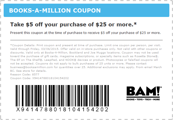 Books-A-Million Coupon November 2018 $5 off $25 at Books-A-Million