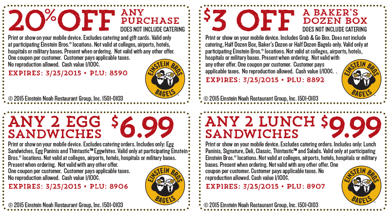 Einstein Bros Bagels Coupon July 2017 20% off any purchase & more at Einstein Bros Bagels