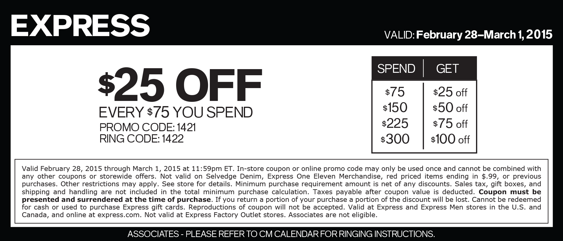 Express Coupon December 2016 $25 off every $75 at Express, or online via promo code 1421