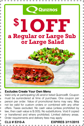 Quiznos Coupon June 2017 Shave a buck off your sub or salad at Quiznos