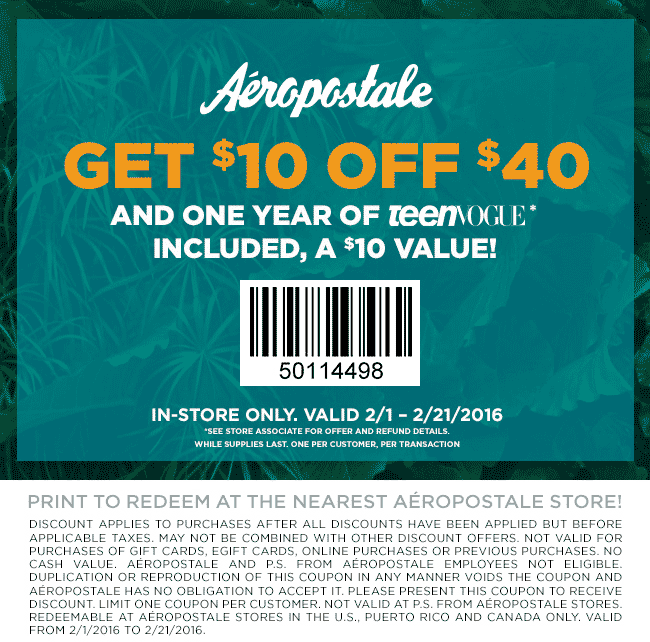 Aeropostale Coupon November 2018 $10 off $40 + 1yr TeenVogue magazine free at Aeropostale