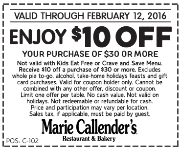 Marie Callenders Coupon August 2017 $10 off $30 at Marie Callenders restaurant & bakery