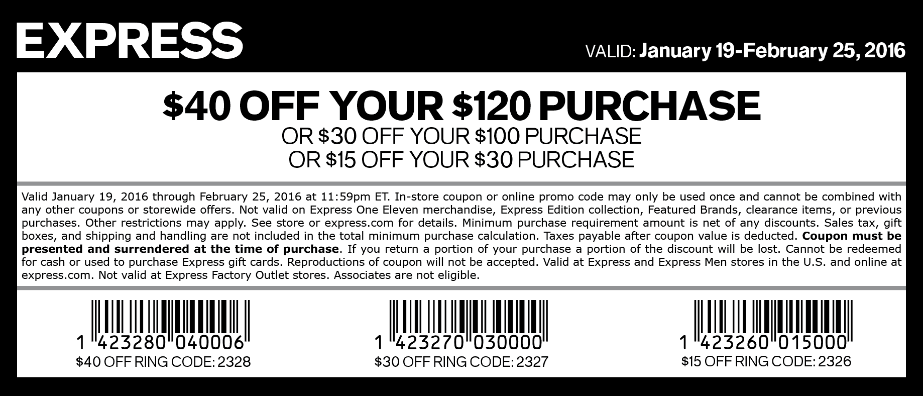Express Coupon April 2017 $15 off $30 & more at Express, or online via promo code 2326