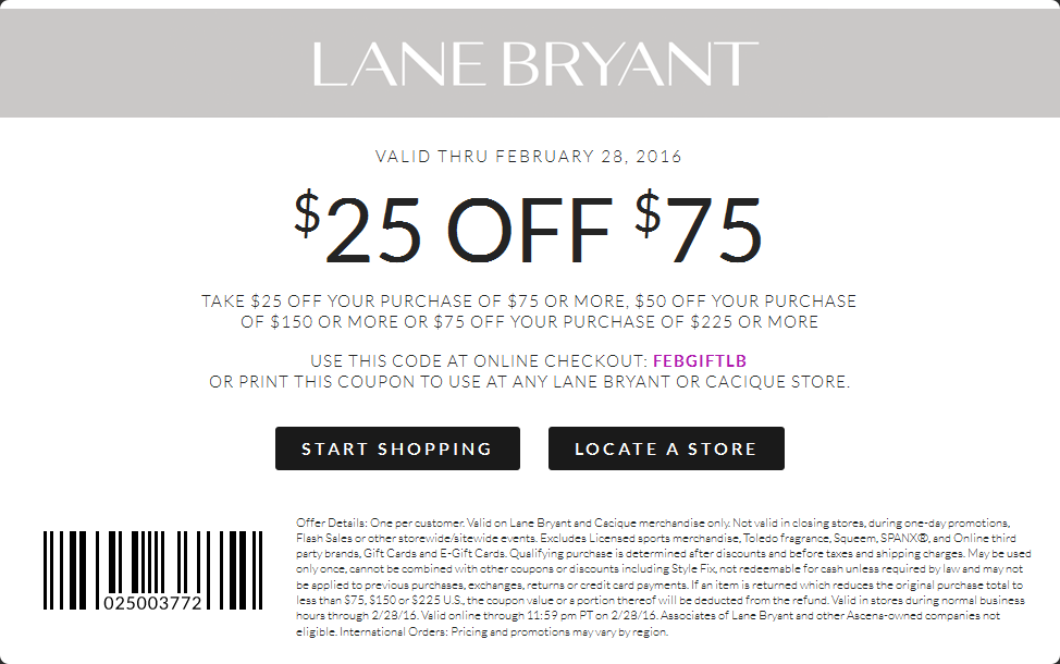 Lane Bryant Coupon February 2019 $25 off $75 at Lane Bryant, or online via promo code FEBGIFTLB